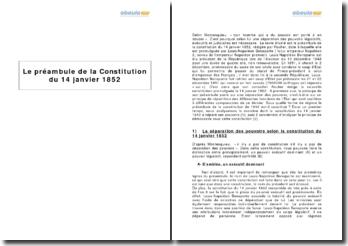 Le préambule de la Constitution du 14 janvier 1852