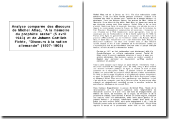 Analyse comparée des discours de Michel Aflaq, A la mémoire du prophète arabe (5 avril 1943) et de Johann Gottlieb Fichte, Discours à la nation allemande (1807-1808)