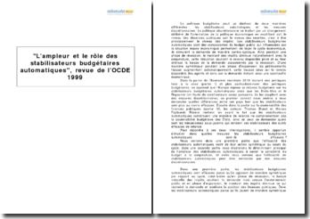 L'ampleur et le rôle des stabilisateurs budgétaires automatiques, revue de l'OCDE 1999