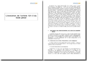 L'évolution de l'article 121-3 du Code pénal