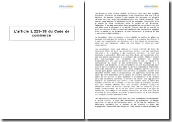 L'article L 225-38 du Code de commerce