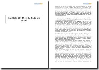 L'article L2141-5 du Code du travail