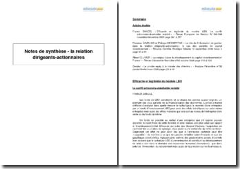 Notes de synthèse - la relation dirigeants-actionnaires