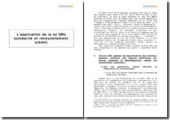 L'application de la loi SRU (solidarité et renouvellement urbain)