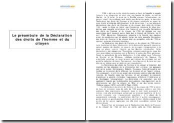 Le préambule de la Déclaration des droits de l'homme et du citoyen