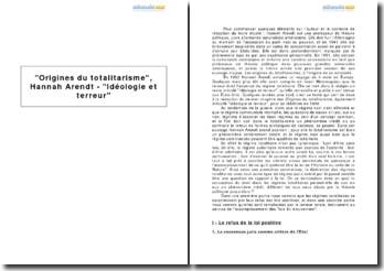 Origines du totalitarisme, Hannah Arendt - Idéologie et terreur