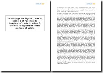 Le mariage de Figaro, acte III, scène 5 et Le malade imaginaire, acte I, scène 5, Molière - l'opposition entre maîtres et valets