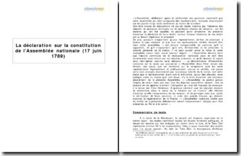 La déclaration sur la constitution de l'Assemblée nationale (17 juin 1789)