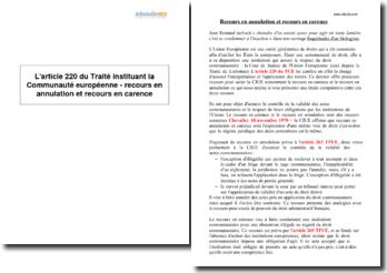L'article 220 du Traité instituant la Communauté européenne - recours en annulation et recours en carence