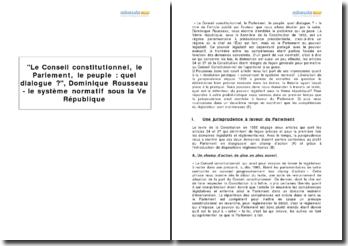 Le Conseil constitutionnel, le Parlement, le peuple: quel dialogue?, Dominique Rousseau - le système normatif sous la Ve République