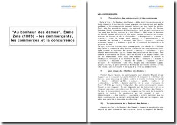Au bonheur des dames, Émile Zola (1883) - les commerçants, les commerces et la concurrence