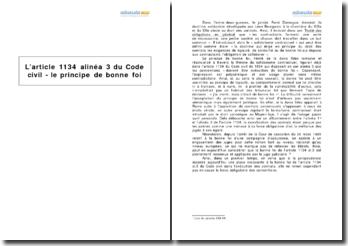 L'article 1134 alinéa 3 du Code civil - le principe de bonne foi