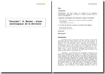 Outsider, H. Becker - étude sociologique de la déviance
