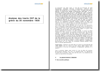 Analyse des tracts CGT de la grève du 30 novembre 1938