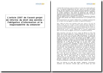 L'article 2307 de l'avant-projet de réforme du droit des sûretés - l'obligation d'information et la responsabilité du créancier
