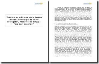 Fortune et infortune de la femme mariée, sociologie de la vie conjugale, François De Singly - un mari secondé