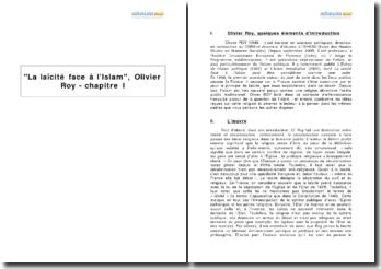 La laïcité face à l'Islam, Olivier Roy - chapitre I