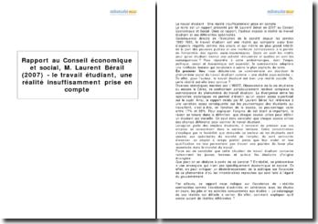 Rapport au Conseil économique et social, M. Laurent Bérail (2007) - le travail étudiant, une réalité insuffisamment prise en compte
