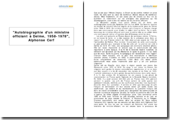 Autobiographie d'un ministre officiant à Delme, 1958-1978, Alphonse Cerf