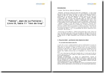 Fables, Jean de La Fontaine - Livre IX, fable 11 rien de trop