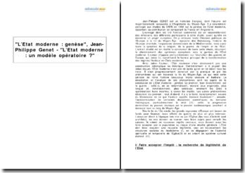 L'Etat moderne : genèse, Jean-Philippe Genet - L'Etat moderne : un modèle opératoire ?
