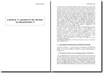 L'article 11 permet-il de réviser la Constitution ?