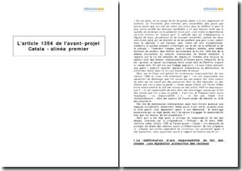 L'article 1354 de l'avant-projet Catala - alinéa premier
