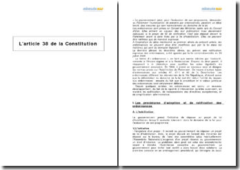 L'article 38 de la Constitution