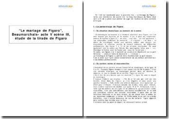 Le mariage de Figaro, Beaumarchais - acte V scène III, étude de la tirade de Figaro