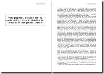 Géographie, Strabon (18-19 après J.-C.) - livre X, chapitre IV, l'éducation des jeunes Crétois