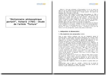 Dictionnaire philosophique portatif, Voltaire (1764) - étude de l'article Torture