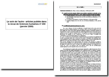 Le soin de l'autre - articles publiés dans la revue de Sciences humaines nº 200 (janvier 2009)