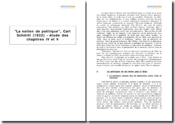 La notion de politique, Carl Schmitt (1932) - étude des chapitres IV et V