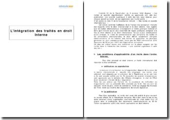 L'intégration des traités en droit interne