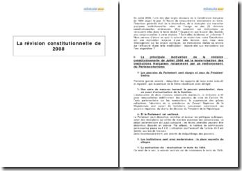 Analyse de la révision constitutionnelle de 2008