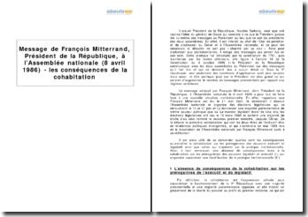 Message de François Mitterrand, Président de la République, à l'Assemblée nationale (8 avril 1986) - les conséquences de la cohabitation