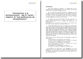 Introduction à la microéconomie, Hal R. Varian - chapitre III Les préférences du consommateur