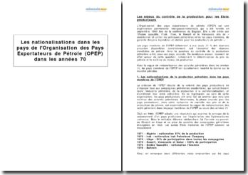 Les nationalisations dans les pays de l'Organisation des Pays Exportateurs de Pétrole (OPEP) dans les années 70