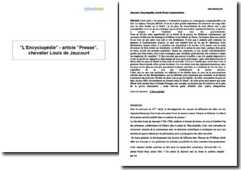 L'Encyclopédie - article Presse, chevalier Louis de Jaucourt