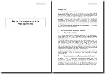 De la francophonie à la Francophonie