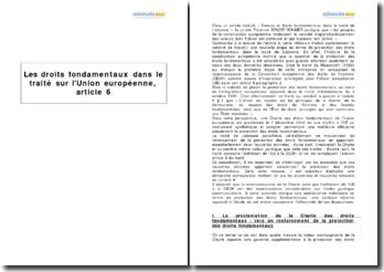 Les droits fondamentaux dans le traité sur l'Union européenne, article 6