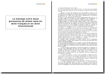 Le mariage entre deux personnes de même sexe en droit français et en droit international