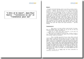 L'être et le néant, Jean-Paul Sartre - l'existence en soi et l'existence pour soi