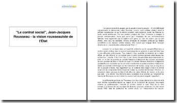 Le contrat social, Jean-Jacques Rousseau - la vision rousseauiste de l'État