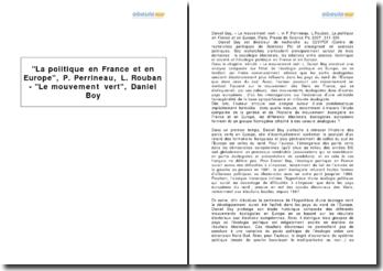 La politique en France et en Europe, P. Perrineau, L. Rouban - Le mouvement vert, Daniel Boy