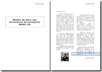 Modèle de lettre aux actionnaires de l'entreprise Mobile Cie