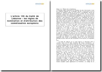 L'article 106 du traité de Lisbonne - les règles de nomination et d'attribution des commissaires européens