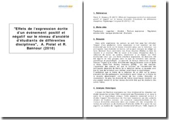 Effets de l'expression écrite d'un événement positif et négatif sur le niveau d'anxiété d'étudiants de différentes disciplines, A. Piolat et R. Bannour (2010)