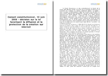 Conseil constitutionnel, 10 juin 2009 - décision sur la loi favorisant la diffusion et la protection de la création sur internet