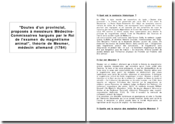Doutes d'un provincial, proposés à messieurs Médecins-Commissaires hargués par le Roi de l'examen du magnétisme animal, théorie de Mesmer, médecin allemand (1784)